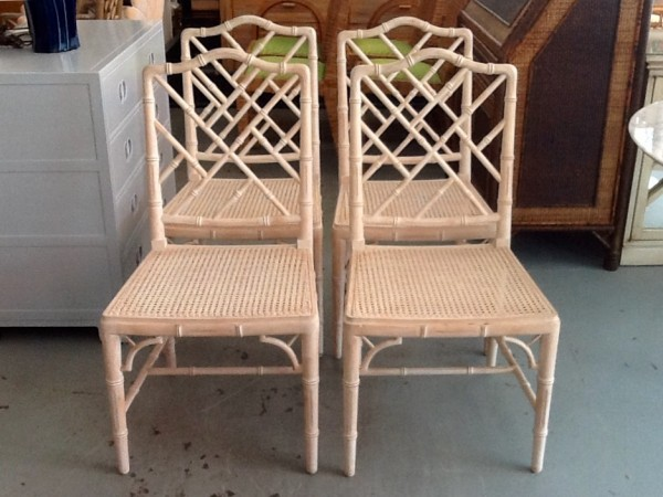 Set Of 4 Faux Bamboo Chippendale Style Chairs Circa Who