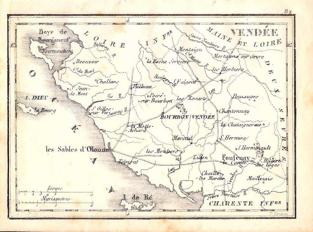 Map Of France Vendee.854 Vendee France 1833 Circle 7 Framing