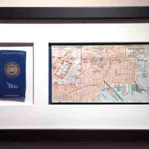#4025 Yale University tobacco silk, 1910 with 1909 map of New Haven