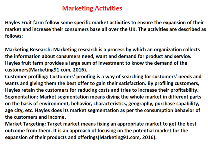 Diverse Activities Carried Out in the Marketing Departments of Business
