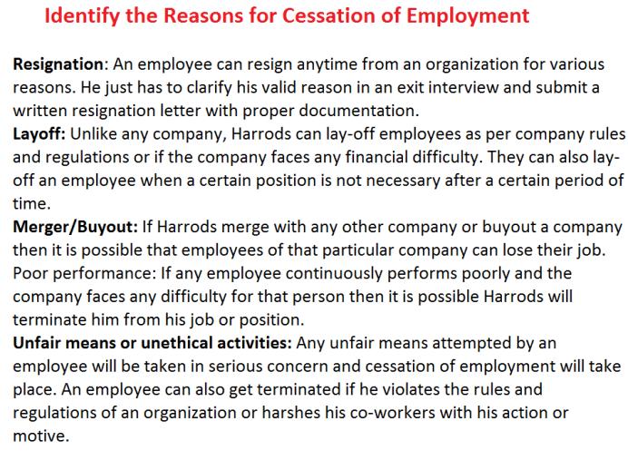 Understanding the Mechanism of Cessation of Employment