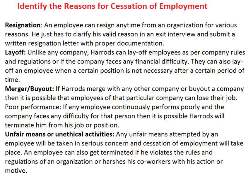Understanding the Mechanism of Cessation of Employment
