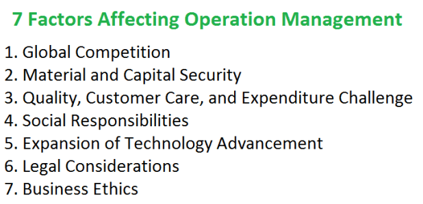 7 Factors Affecting Operation Management