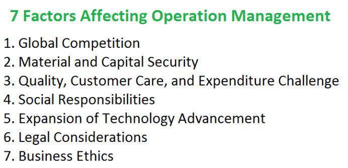 7 Factors Affecting Operation Management