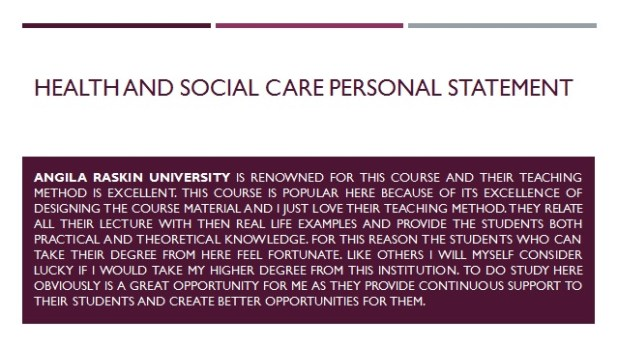 Personal Statement for Health and Social Care