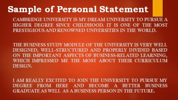 Personal Statement Sample of Cambridge University Student