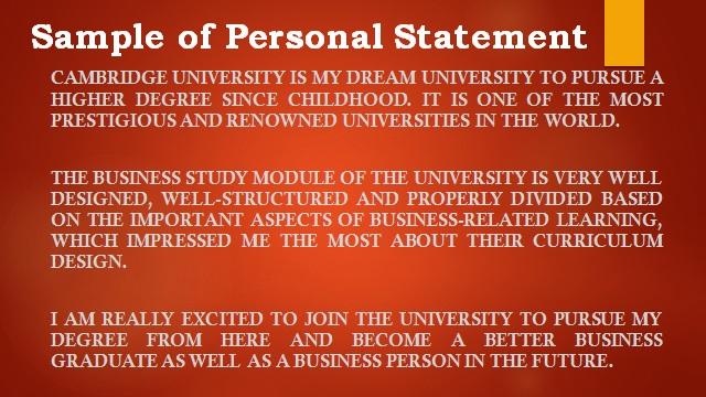 Personal Statement Sample of Cambridge University Student