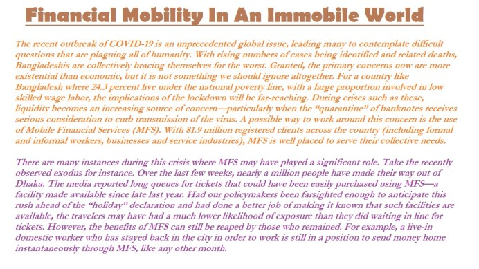 Financial Mobility In Immobile World