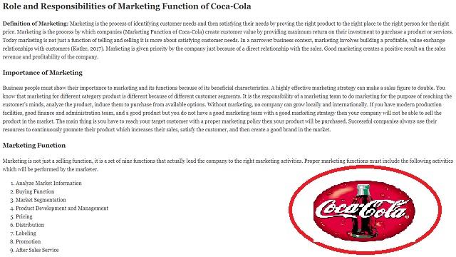Marketing Function of Coca-Cola