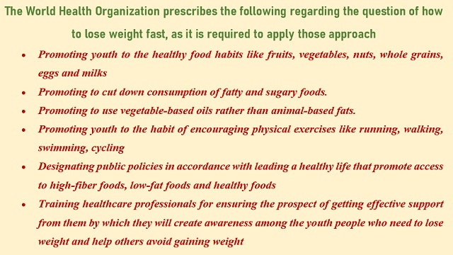 The World Health Organization prescribes the following regarding the question of how to lose weight fast, as it is required to apply those approach