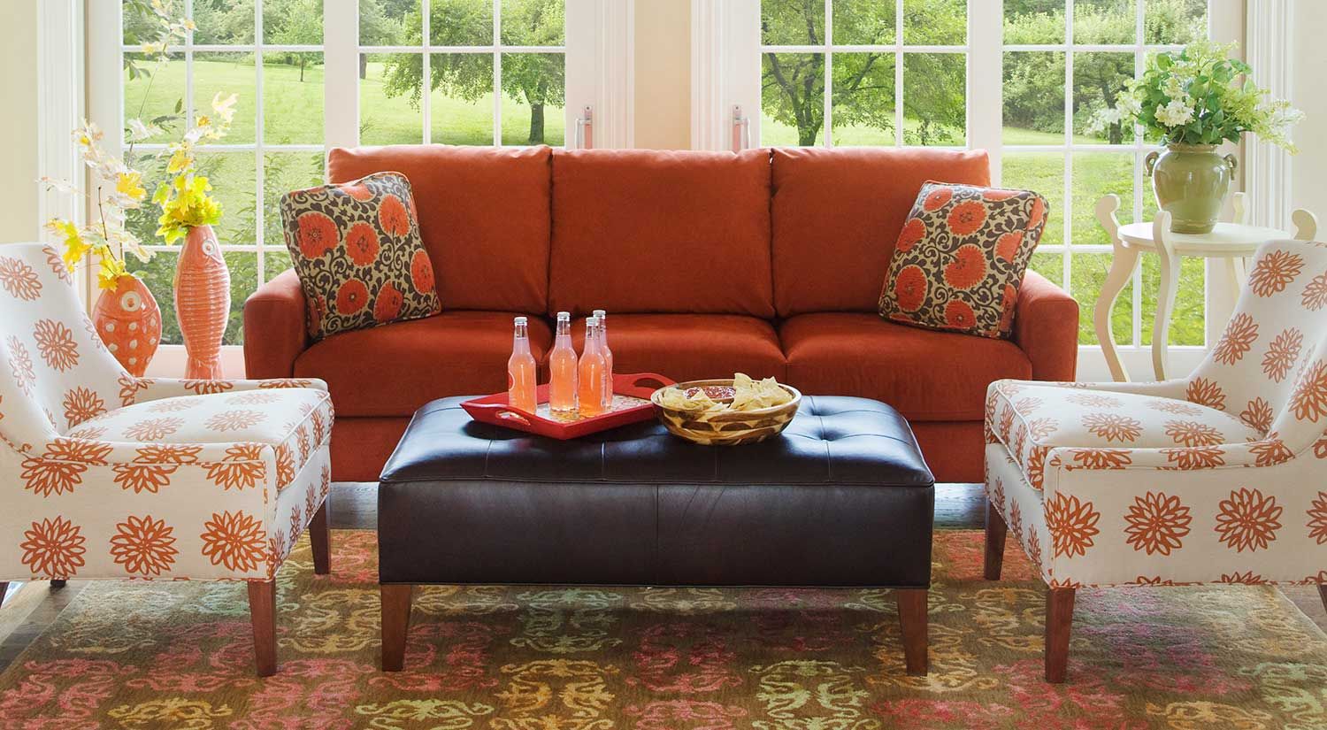 Orange Living Room Chair Circle Furniture Del Ray Ottoman Ottomans Boston