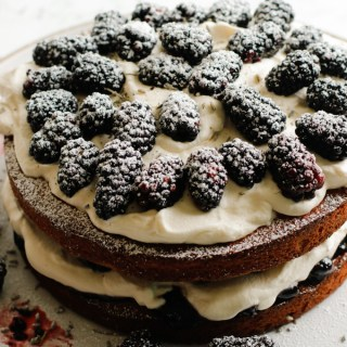Victoria Sponge Cake with Blackberries and Lavender Cream