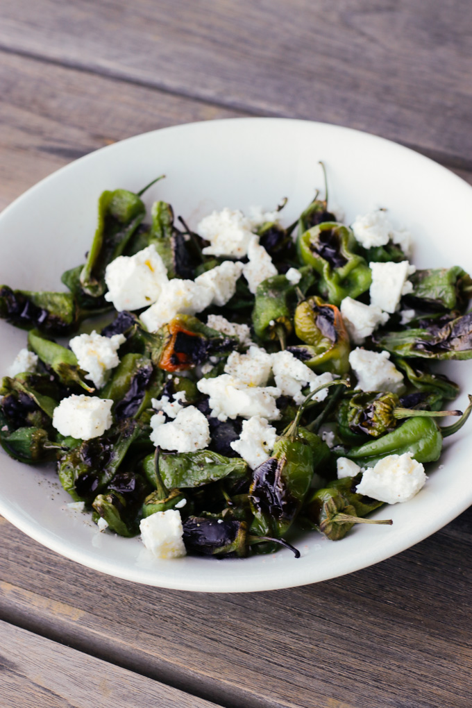 Padron Peppers with Feta - A perfect appetizer and great tapas. | circleofeaters.com