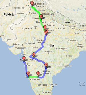 the Monsoon Meandering trip route