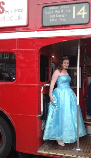 Emilia on her prom bus