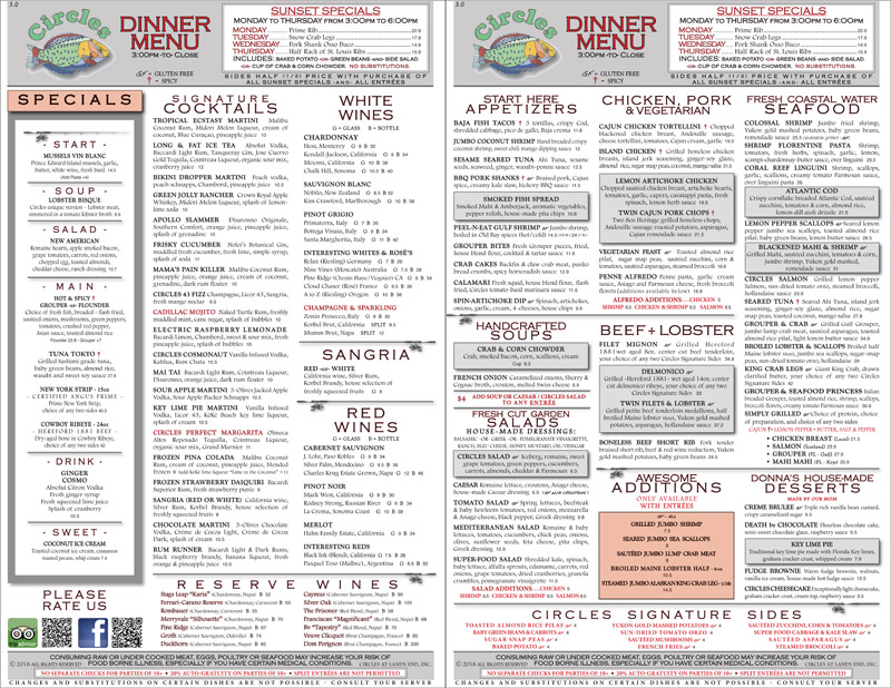 Lunch and Dinner Menus at Circles Restaurant