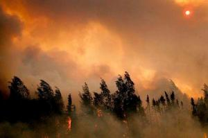 The setting sun is partially obscured by smoke from an out of control wildfire on the Parks Highway near Willow, Alaska, in this picture courtesy of Mat-Su Borough taken June 14, 2015.  REUTERS/Mat-Su Borough/Stefan Hinman/Handout