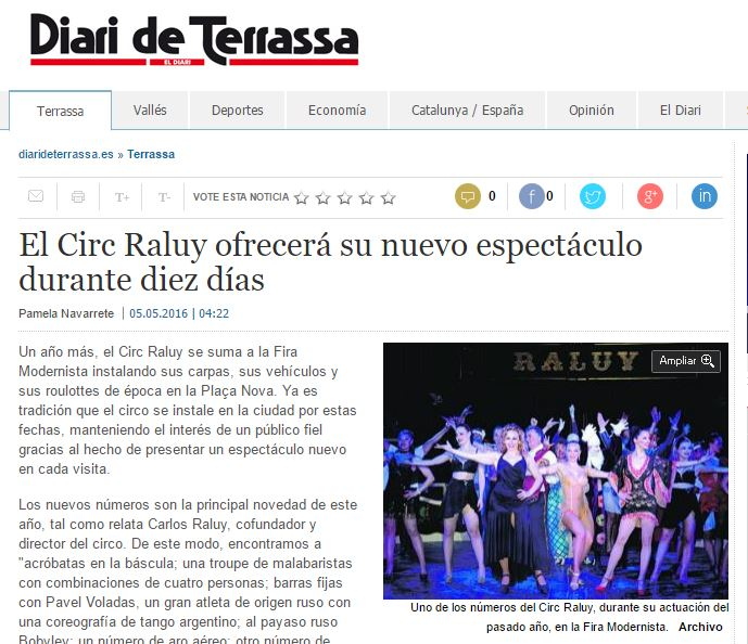 Circo Raluy en Diari de Terrassa