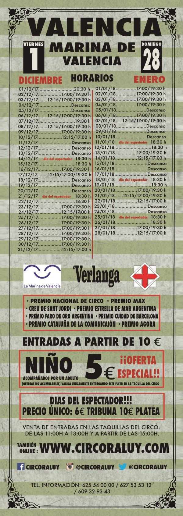 Horarios del Circo en Valencia 2017-2018