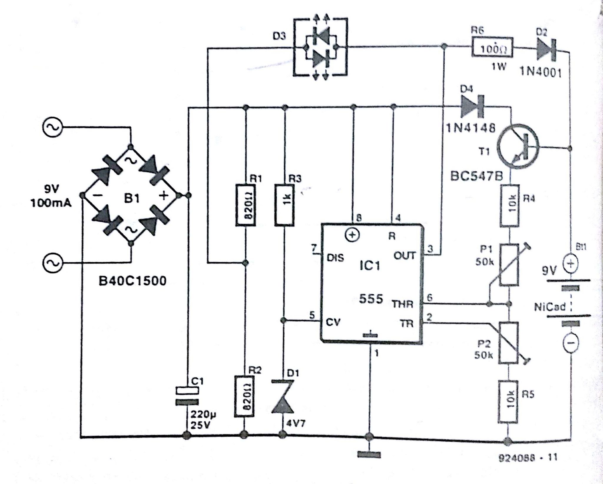 Automatic NiCd battery Charger Circuit Diagram ...