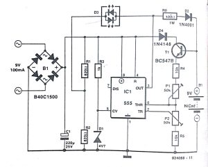 Automatic NiCd battery Charger Circuit Diagram