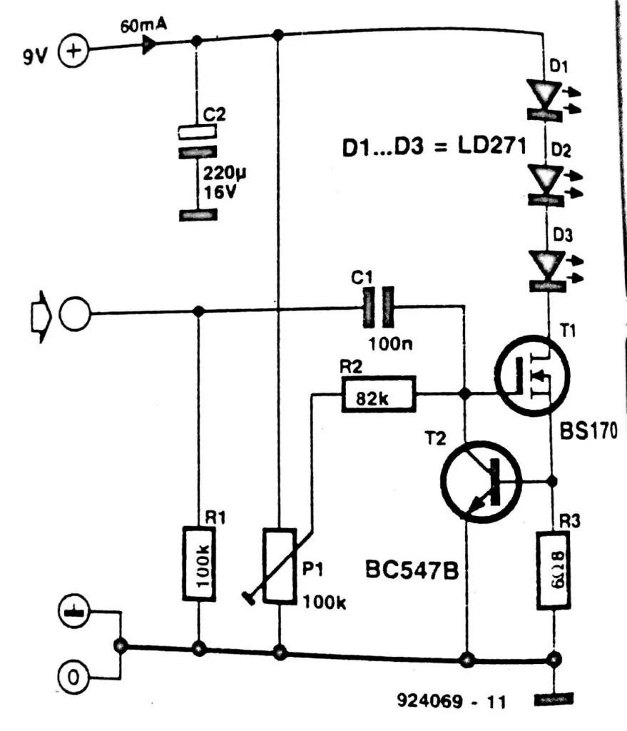 Infra-red Headphone Transmitter Circuit Diagram