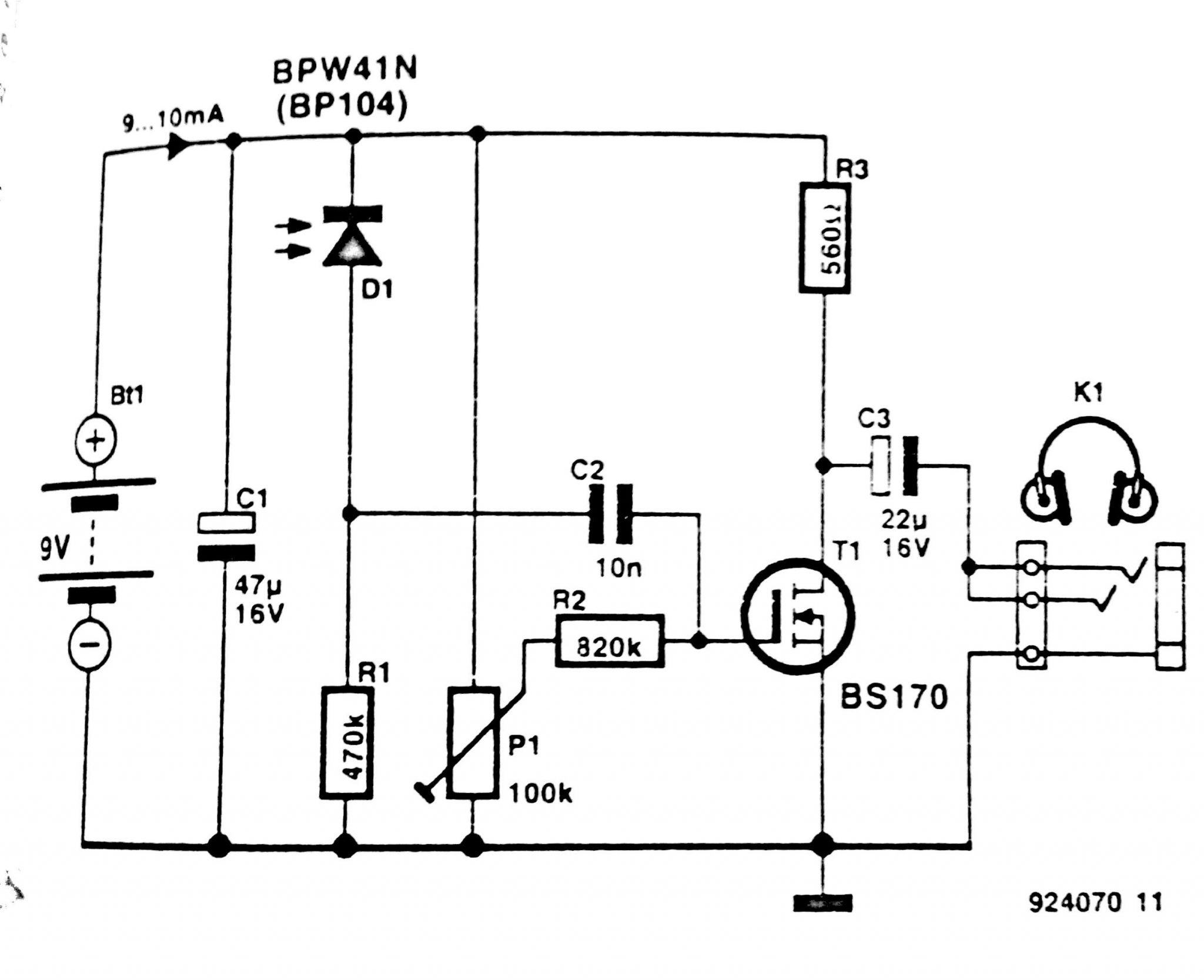 Infrared Headphone Receiver Circuit Diagram