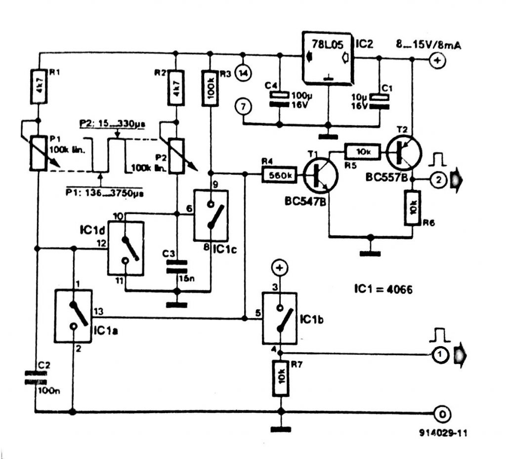 Pulse Generator with One 4066 Circuit Diagram
