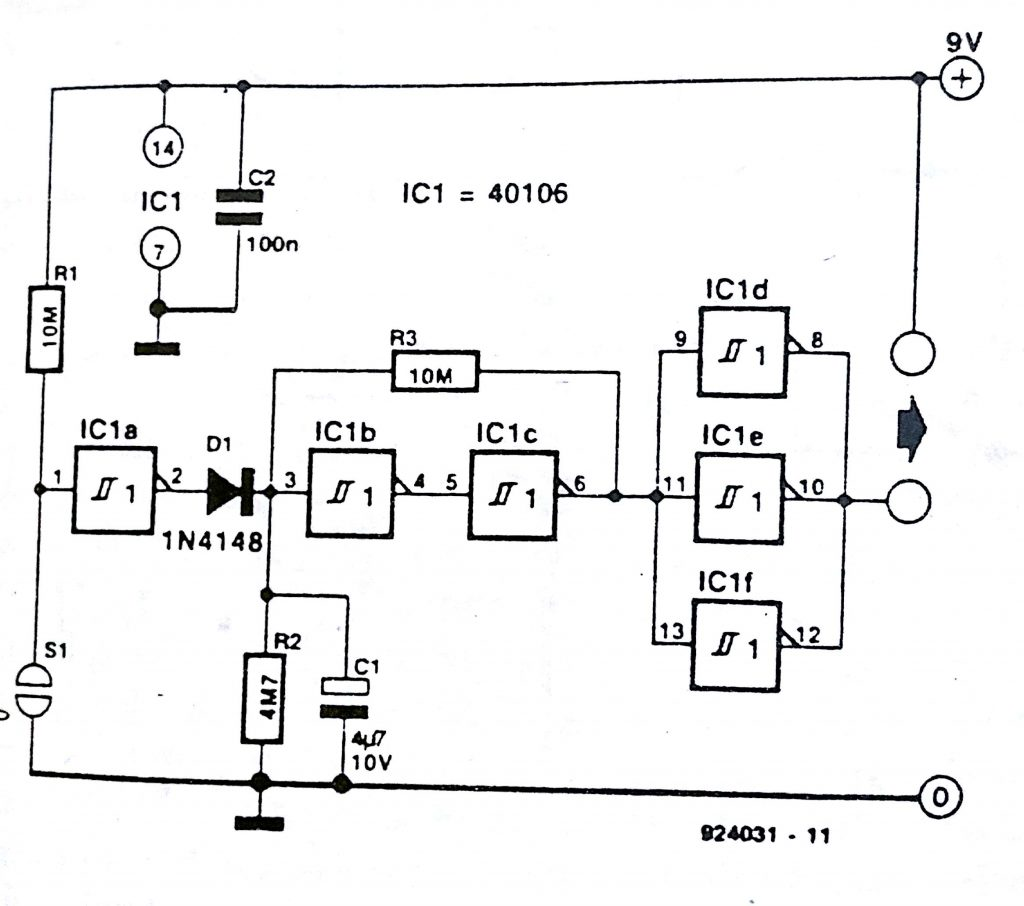 Touch ON, auto OFF controller for battery-operated equipment