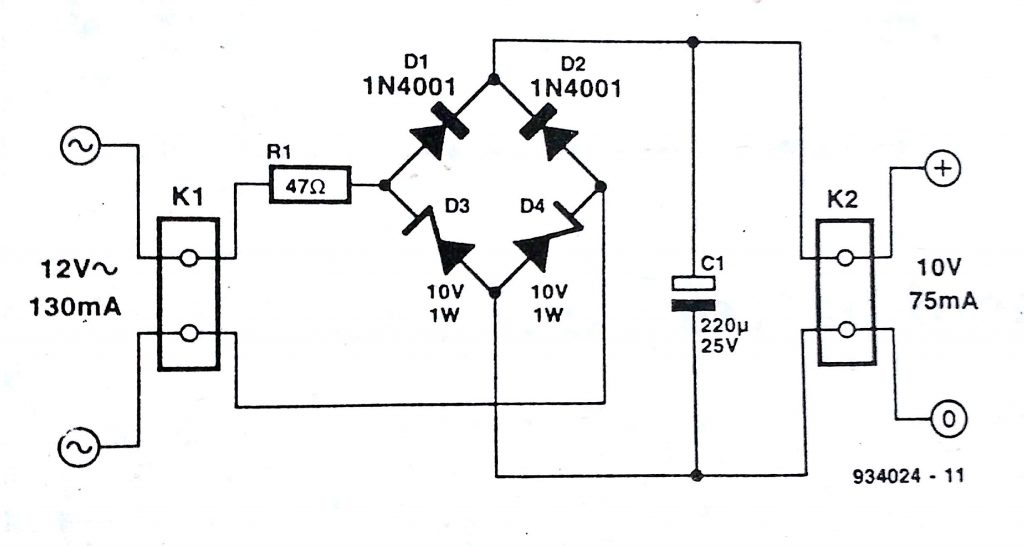 Zener Bridge Rectifier Circuit Diagram