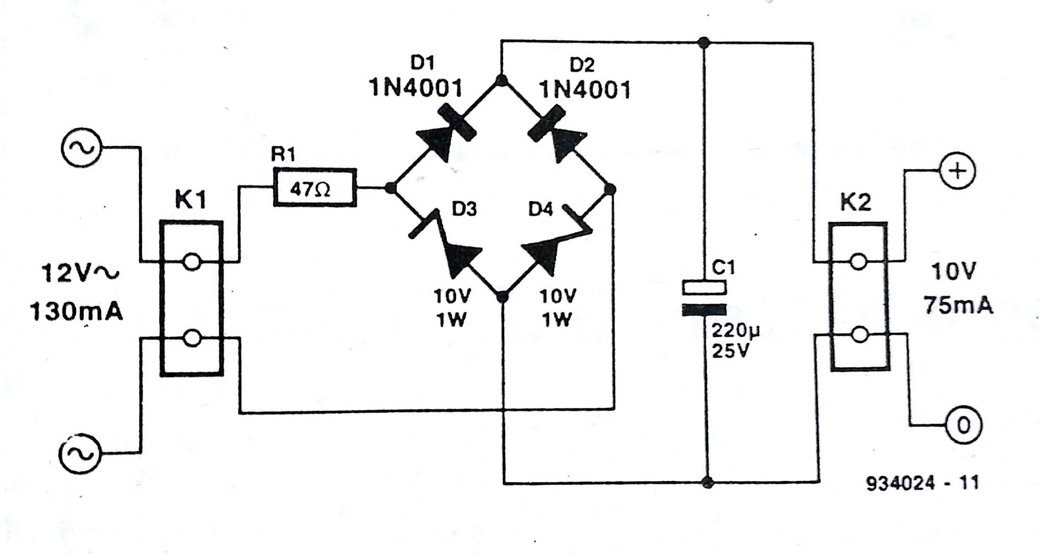 bridge rectifier circuit diagram