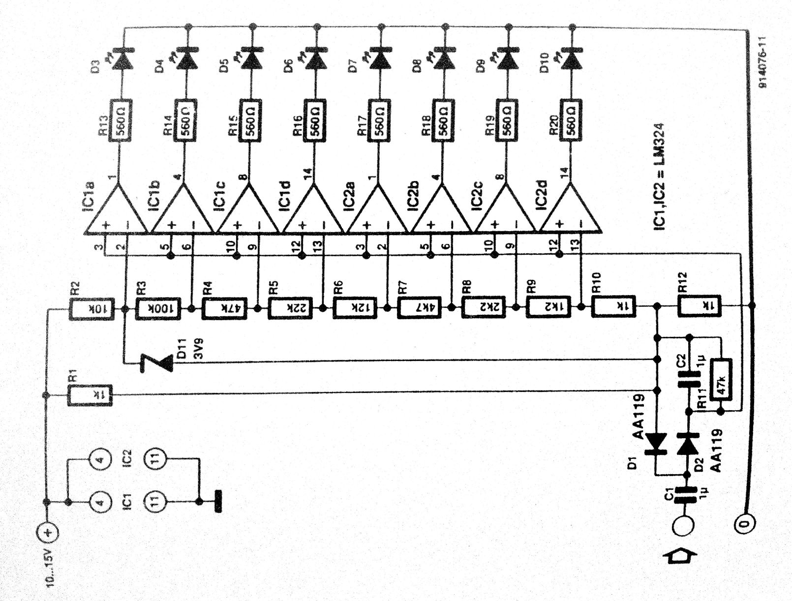 led vu meter circuit
