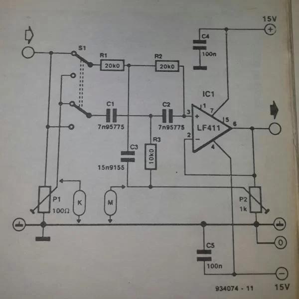 Notch Filter Uses An Operational Amplifier Circuit Diagram