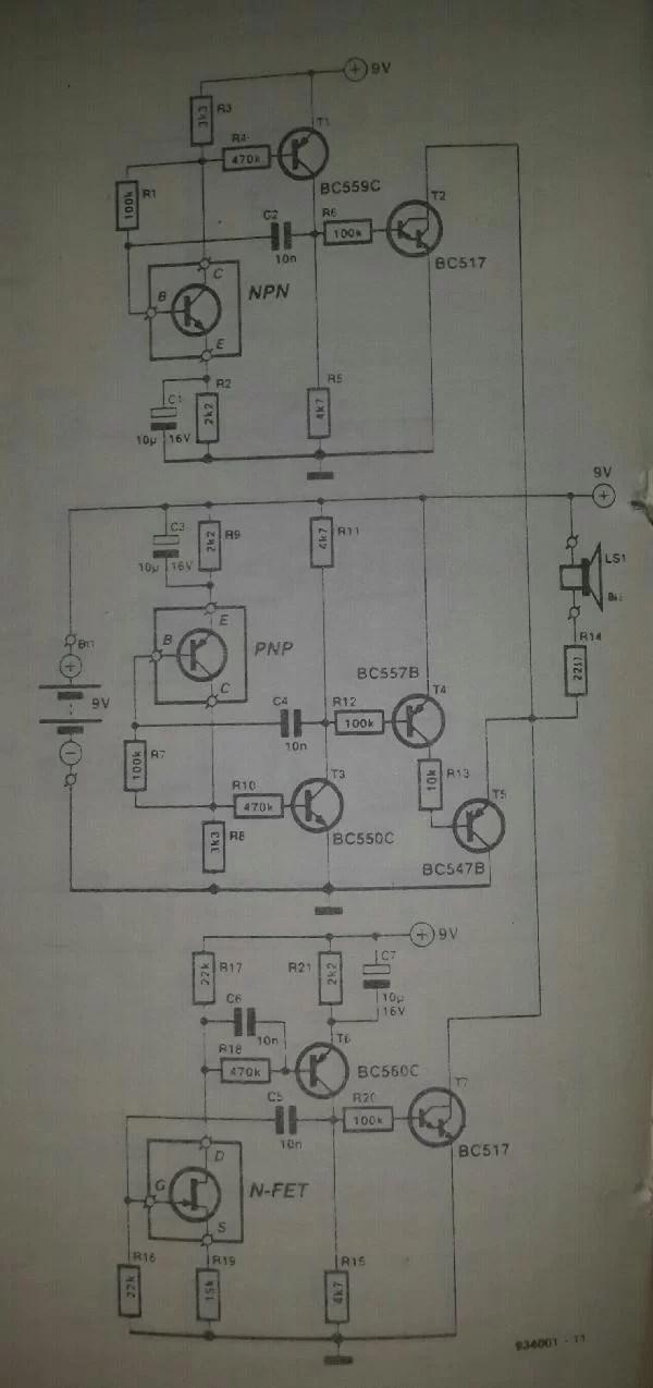 Continuity Tester Circuit Schematic Diagram