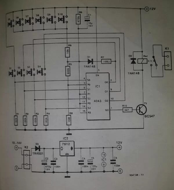 Single Key Touch Switch Circuit Controlcircuit Circuit Diagram