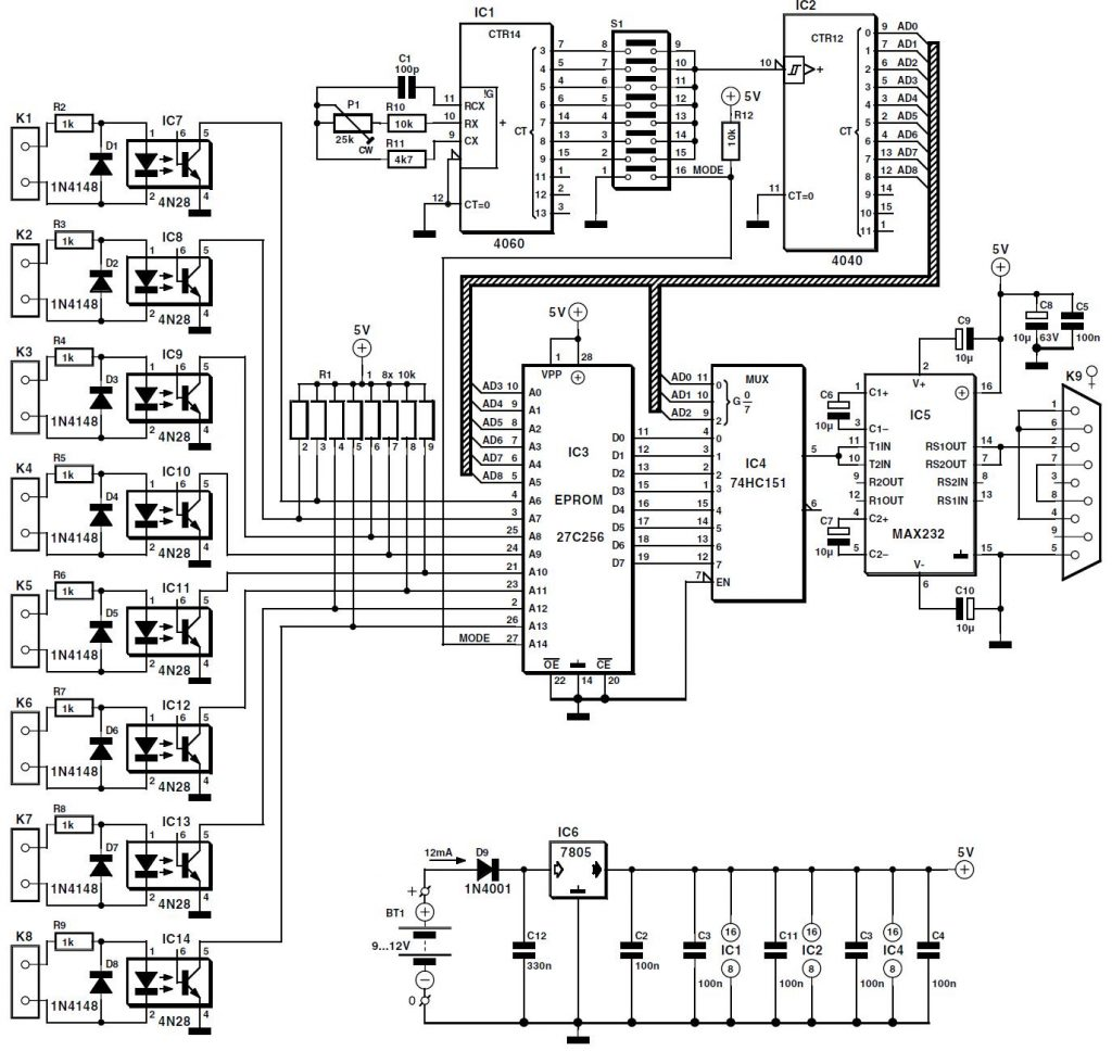 8 Channel D I Card For Rs232 Schematic Circuit Diagram