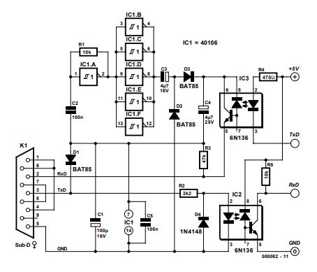 Electrically Isolated RS232 Adapter Schematic Diagram