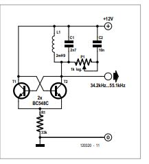 LC Oscillator with Pot Tuning Schematic Diagram