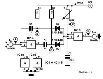 Simple Frequency Doubler Schematic Diagram 1
