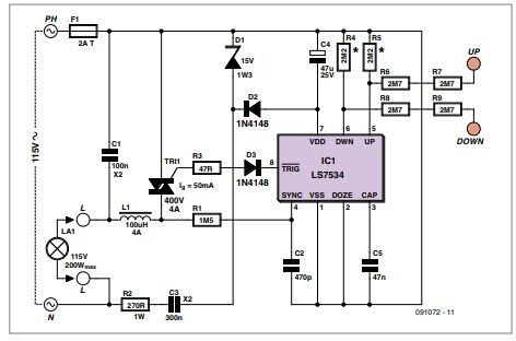 Touch-controlled Dimmer Schematic Diagram