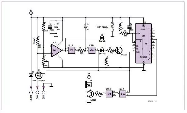 Universal 3-wire Flasher Unit for Scooters Schematic Diagram