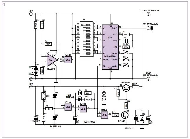 Wireless Alarm Transmitter and Receiver Schematic Diagram 1