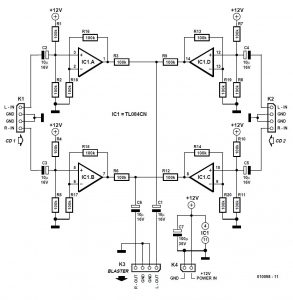 Audio Combiner Schematic Circuit Diagram