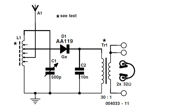 Diode Radio for Low Impedance Headphones Schematic Circuit
