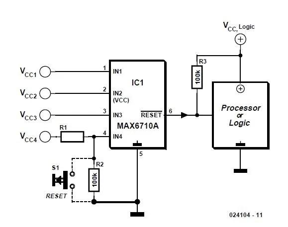 Fourfold Voltage Monitor Schematic Circuit Diagram
