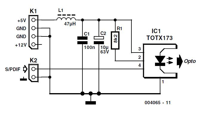 Optical S PDIF Output Schematic Circuit Diagram