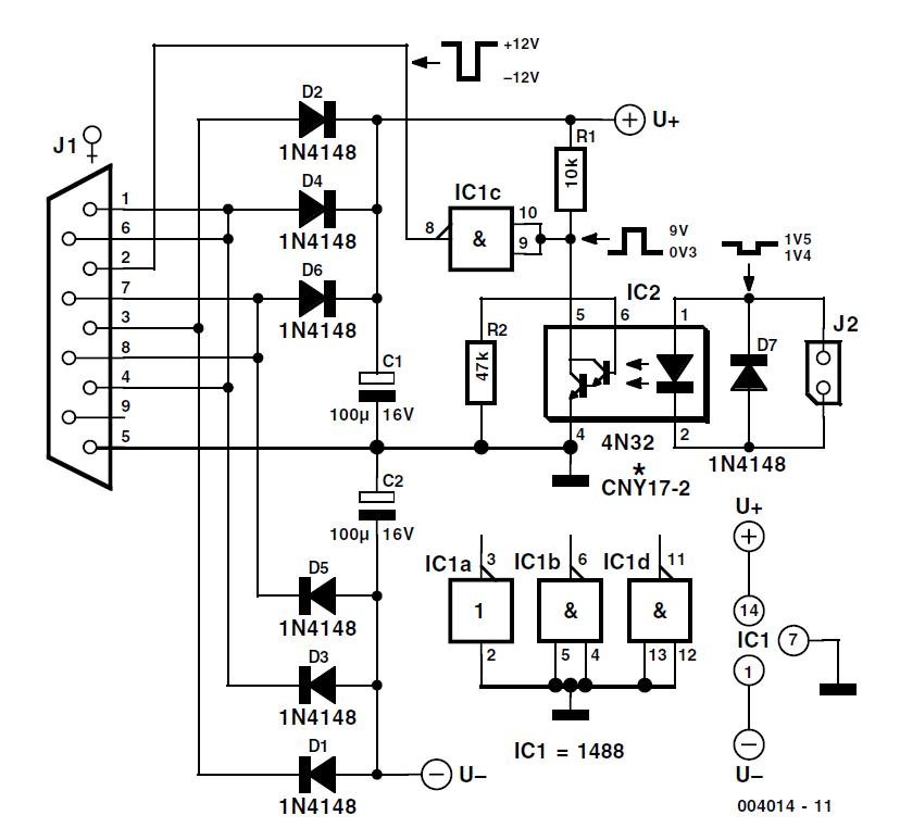 Opto-Isolated RS232 Interface Schematic Circuit Diagram