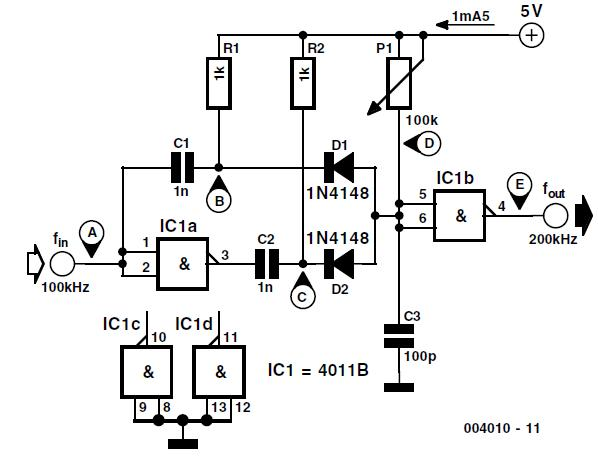 Simple Frequency Doubler Schematic Circuit Diagram 2