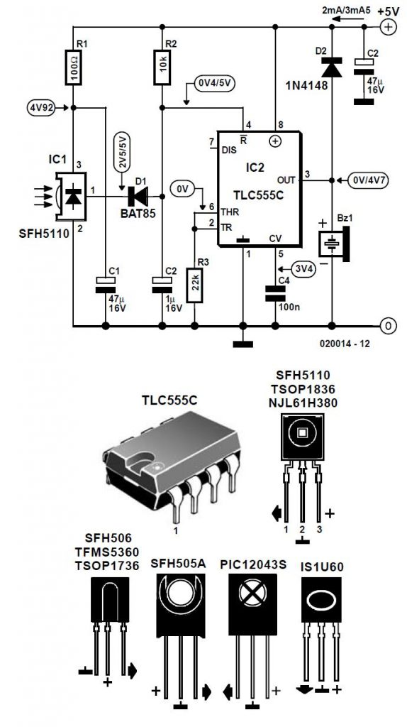 Simple Infrared Light Barrier Schematic Circuit Diagram