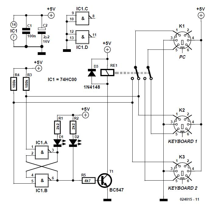 Two Keyboards on one PC Schematic Circuit Diagram